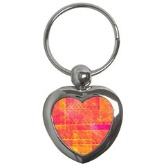 Yello And Magenta Lace Texture Key Chains (heart)  by DanaeStudio