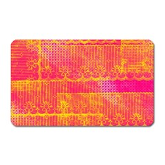 Yello And Magenta Lace Texture Magnet (rectangular) by DanaeStudio