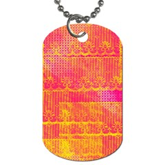 Yello And Magenta Lace Texture Dog Tag (one Side) by DanaeStudio