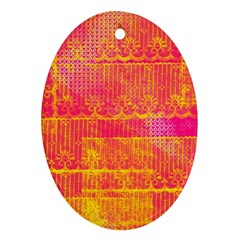Yello And Magenta Lace Texture Oval Ornament (two Sides) by DanaeStudio
