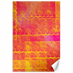 Yello And Magenta Lace Texture Canvas 24  X 36  by DanaeStudio