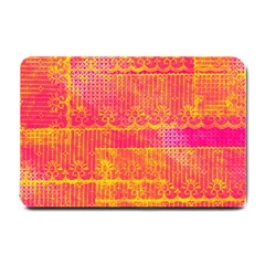 Yello And Magenta Lace Texture Small Doormat  by DanaeStudio