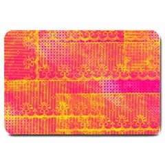 Yello And Magenta Lace Texture Large Doormat  by DanaeStudio