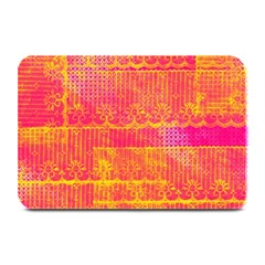 Yello And Magenta Lace Texture Plate Mats by DanaeStudio
