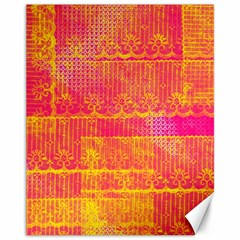 Yello And Magenta Lace Texture Canvas 11  X 14   by DanaeStudio