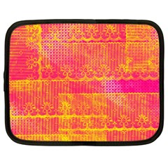 Yello And Magenta Lace Texture Netbook Case (large) by DanaeStudio