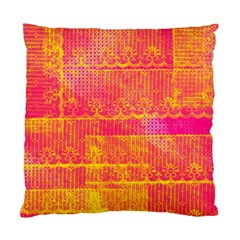 Yello And Magenta Lace Texture Standard Cushion Case (one Side) by DanaeStudio