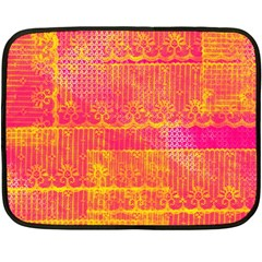 Yello And Magenta Lace Texture Double Sided Fleece Blanket (mini)  by DanaeStudio