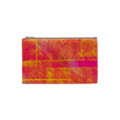Yello And Magenta Lace Texture Cosmetic Bag (small)  by DanaeStudio
