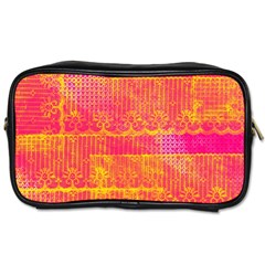 Yello And Magenta Lace Texture Toiletries Bags 2 Side by DanaeStudio