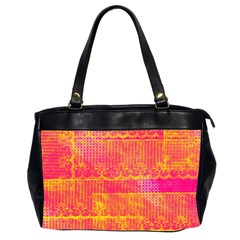Yello And Magenta Lace Texture Office Handbags (2 Sides)  by DanaeStudio