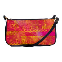 Yello And Magenta Lace Texture Shoulder Clutch Bags by DanaeStudio
