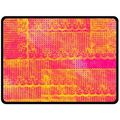 Yello And Magenta Lace Texture Fleece Blanket (large)  by DanaeStudio