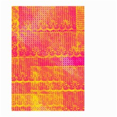Yello And Magenta Lace Texture Small Garden Flag (two Sides) by DanaeStudio