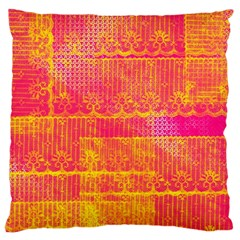 Yello And Magenta Lace Texture Large Cushion Case (one Side) by DanaeStudio