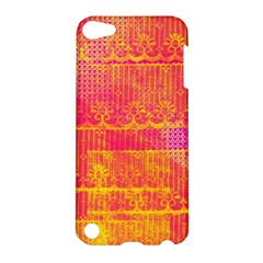 Yello And Magenta Lace Texture Apple Ipod Touch 5 Hardshell Case by DanaeStudio