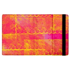 Yello And Magenta Lace Texture Apple Ipad 2 Flip Case by DanaeStudio