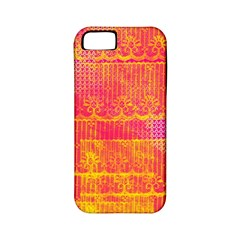 Yello And Magenta Lace Texture Apple Iphone 5 Classic Hardshell Case (pc+silicone) by DanaeStudio