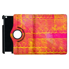 Yello And Magenta Lace Texture Apple Ipad 2 Flip 360 Case by DanaeStudio