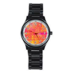 Yello And Magenta Lace Texture Stainless Steel Round Watch by DanaeStudio