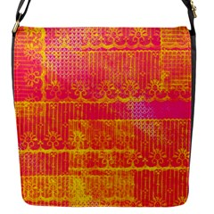 Yello And Magenta Lace Texture Flap Messenger Bag (s) by DanaeStudio