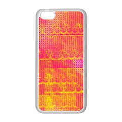 Yello And Magenta Lace Texture Apple Iphone 5c Seamless Case (white) by DanaeStudio