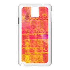 Yello And Magenta Lace Texture Samsung Galaxy Note 3 N9005 Case (white) by DanaeStudio