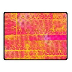 Yello And Magenta Lace Texture Double Sided Fleece Blanket (small)  by DanaeStudio