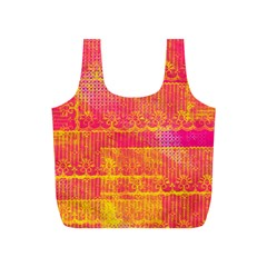 Yello And Magenta Lace Texture Full Print Recycle Bags (s)  by DanaeStudio