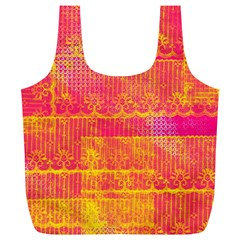Yello And Magenta Lace Texture Full Print Recycle Bags (l)  by DanaeStudio