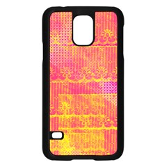 Yello And Magenta Lace Texture Samsung Galaxy S5 Case (black) by DanaeStudio