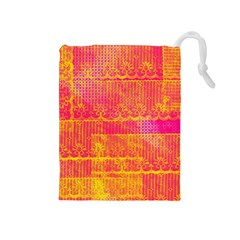 Yello And Magenta Lace Texture Drawstring Pouches (medium)  by DanaeStudio