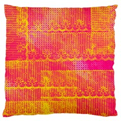 Yello And Magenta Lace Texture Standard Flano Cushion Case (one Side) by DanaeStudio