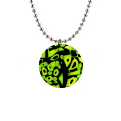 Green Neon Abstraction Button Necklaces