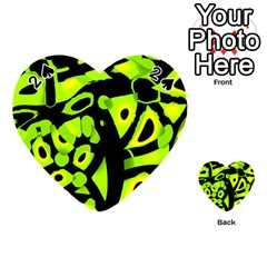 Green Neon Abstraction Playing Cards 54 (heart)  by Valentinaart