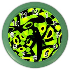 Green Neon Abstraction Color Wall Clocks by Valentinaart