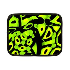 Green Neon Abstraction Netbook Case (small)  by Valentinaart