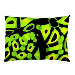 Green Neon Abstraction Pillow Case by Valentinaart