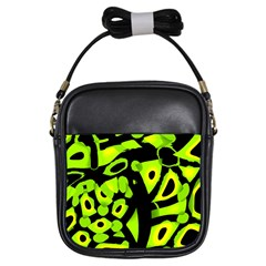 Green Neon Abstraction Girls Sling Bags by Valentinaart