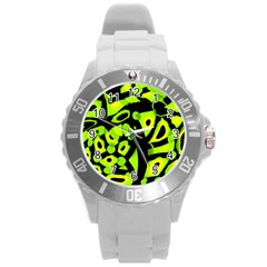 Green Neon Abstraction Round Plastic Sport Watch (l)
