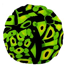 Green Neon Abstraction Large 18  Premium Round Cushions by Valentinaart