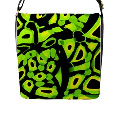 Green Neon Abstraction Flap Messenger Bag (l)  by Valentinaart