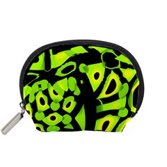 Green Neon Abstraction Accessory Pouches (small)  by Valentinaart