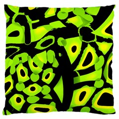 Green Neon Abstraction Standard Flano Cushion Case (two Sides) by Valentinaart