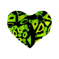 Green Neon Abstraction Standard 16  Premium Flano Heart Shape Cushions by Valentinaart
