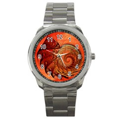Nautilus Shell Abstract Fractal Sport Metal Watch by designworld65