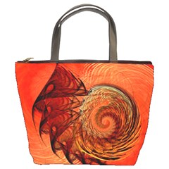 Nautilus Shell Abstract Fractal Bucket Bags by designworld65