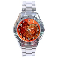 Nautilus Shell Abstract Fractal Stainless Steel Analogue Watch by designworld65