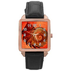 Nautilus Shell Abstract Fractal Rose Gold Leather Watch  by designworld65