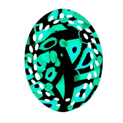 Cyan Design Oval Filigree Ornament (2 Side)  by Valentinaart